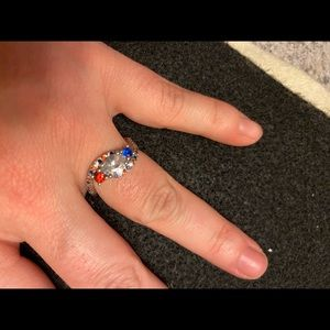 Red white and blue cz ring